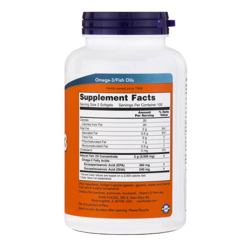 Now Foods Omega-3 180 EPA / 120 DHA 200 softgels - фото 1