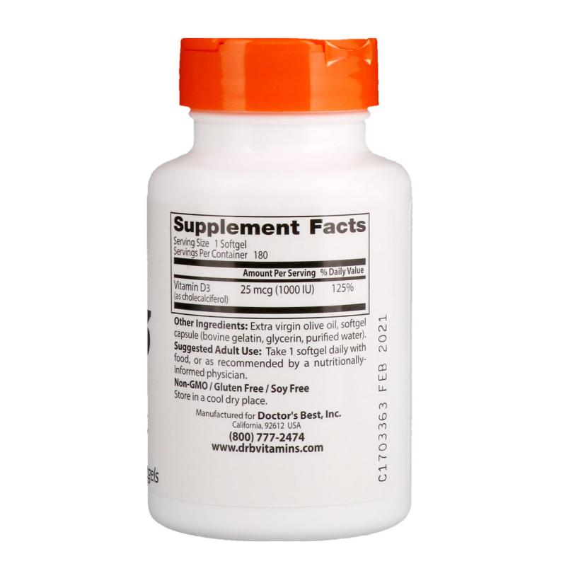 Doctor's Best D-3 1.000 IU 180 softgels - фото 1