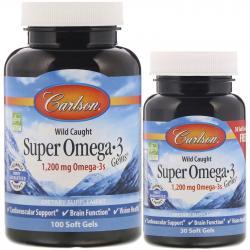 Carlson Labs Wild Caught Super Omega-3 Gems 1200 mg Omega-3s 100+30 softgels
