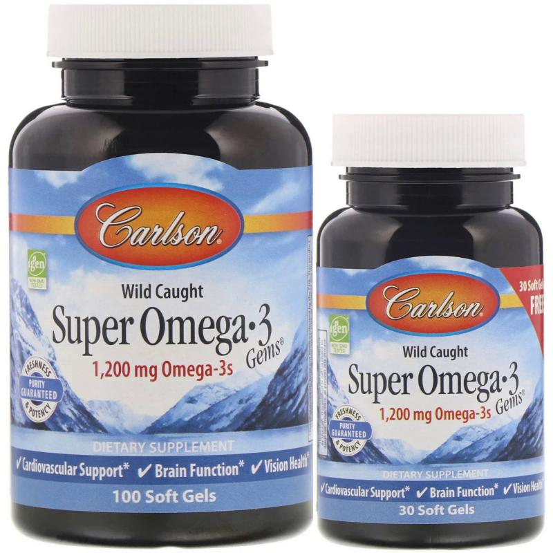 Carlson Labs Wild Caught Super Omega-3 Gems 1200 mg Omega-3s 100+30 softgels - фото 1