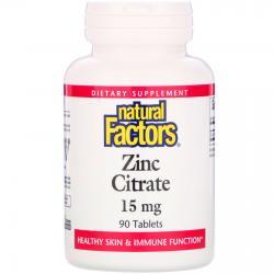 Natural Factors Zinc Citrate 15 mg 90 tablets