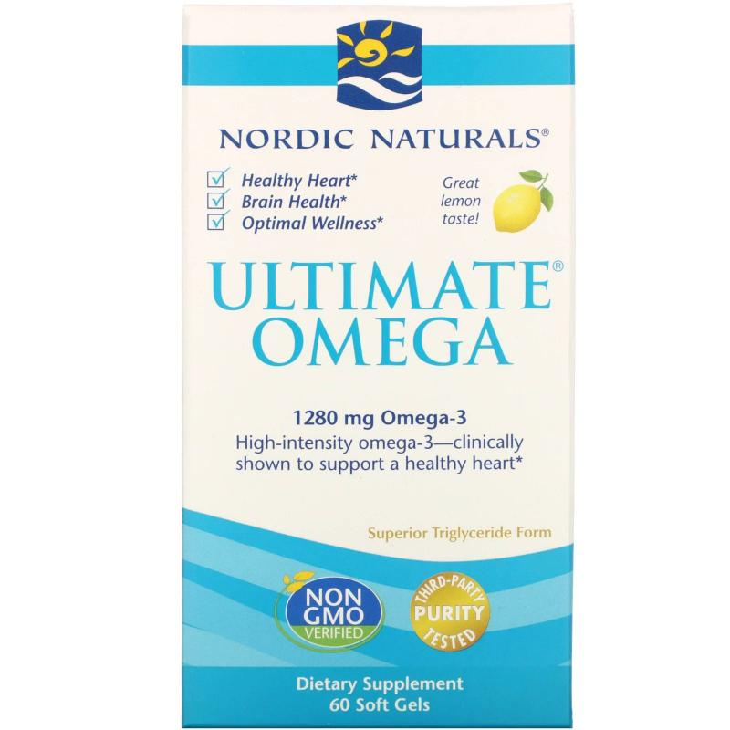 Nordic Naturals Ultimate 1280 mg Omega-3 60 softgels with lemon - фото 1