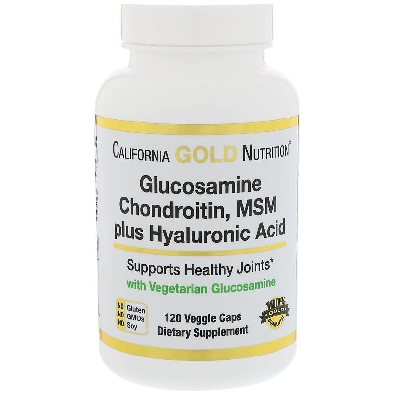 California Gold Nutrition Glucosamine Chondroitin MSM plus Hyaluronic Acid 120 vcaps - фото 1