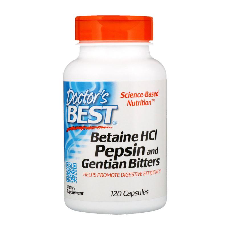 Doctor's Best Betain HCL Pepsin & Gentian bitters 120 caps - фото 1