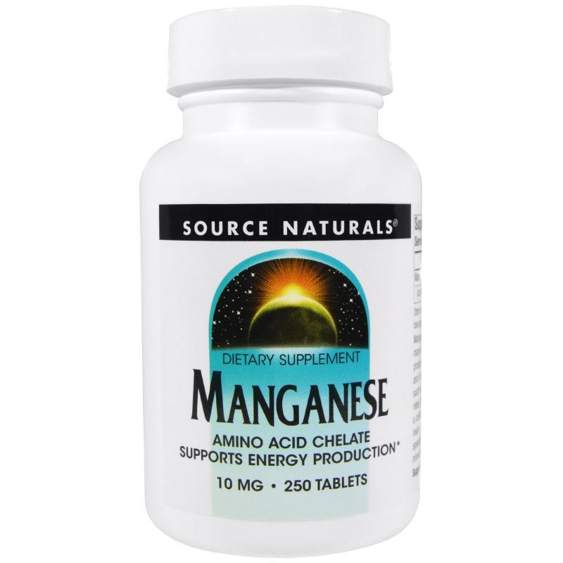 Source Naturals Manganese 10 mg 250 tabs - фото 1
