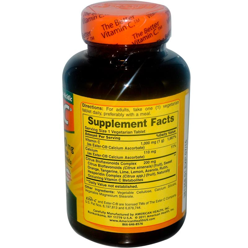 American Health Ester-C with Citrus Bioflavonoids 1000 mg 120 Capsules - фото 1