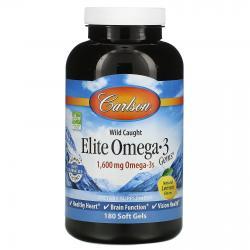 Carlson Labs Wild Caught Elite Omega-3 Gems 1600 mg Omega-3s 180 softgels