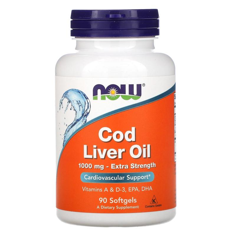 Now Foods Cod Liver Oil 1000 mg Extra Strenght 90softgels - фото 1