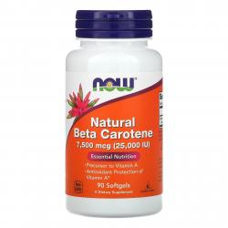 Now Foods Natural Beta Carotene 7,500 mcg (25,000 IU) 90 softgels