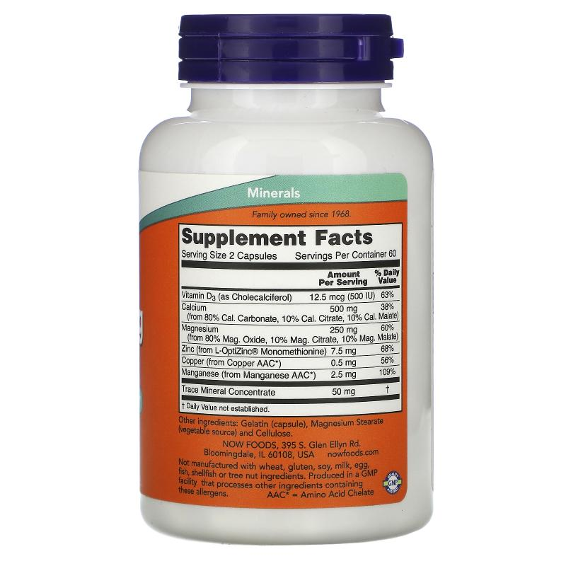 Now Foods Cal-Mag caps with Trace Minerals and Vitamin D 120 capsules - фото 1