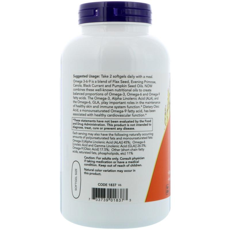 Now Foods Omega 3-6-9 1000 mg 250 softgels - фото 1