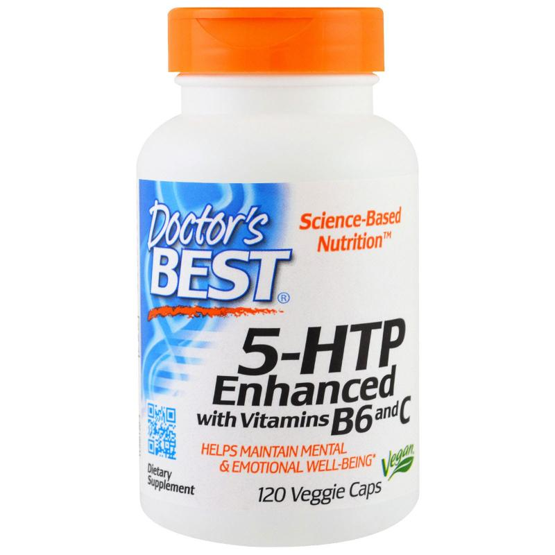Doctor's Best 5-HTP with Vitamins B6 & C 100 mg 120 vcaps - фото 1