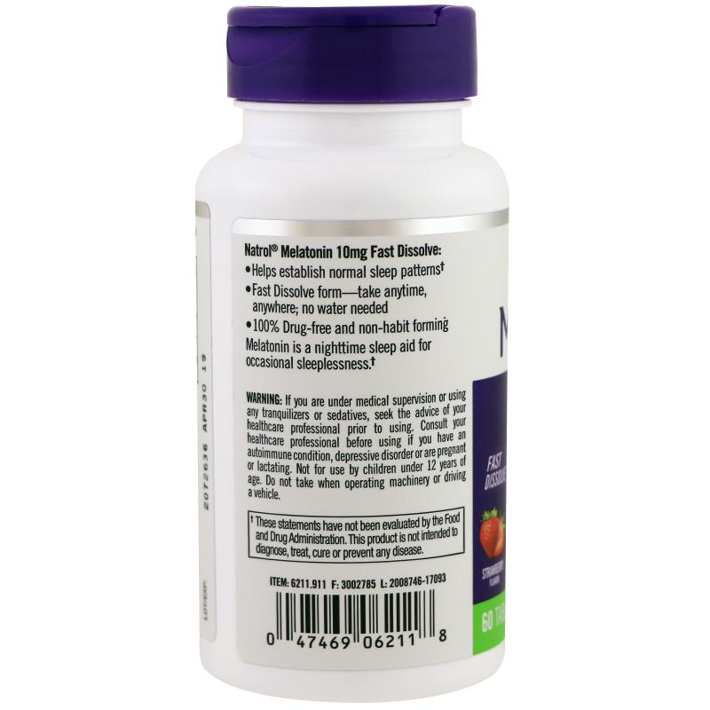 Natrol Melatonin Fast Dissolve Strawberry 10 mg 60 tab - фото 1
