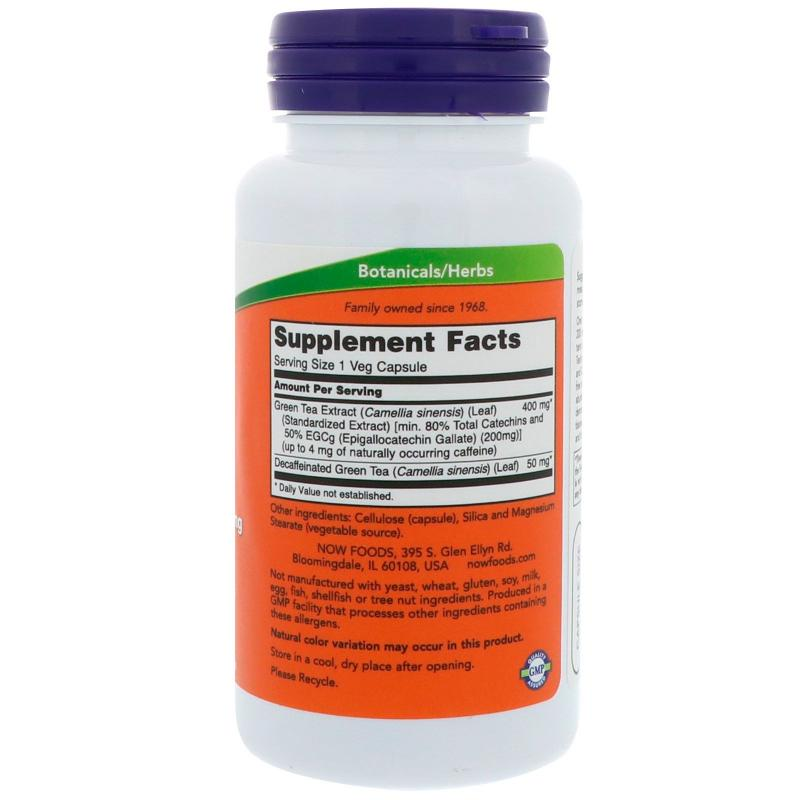 Now Foods EGCg Green Tea Extract 400 mg 90 vcaps - фото 1