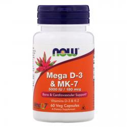 Now Foods Mega D-3 & MK-7 5000 IU/180 mcg 60vcapsules