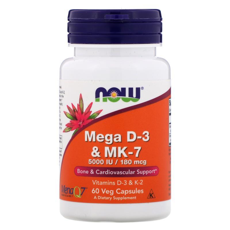Now Foods Mega D-3 & MK-7 5000 IU/180 mcg 60vcapsules - фото 1