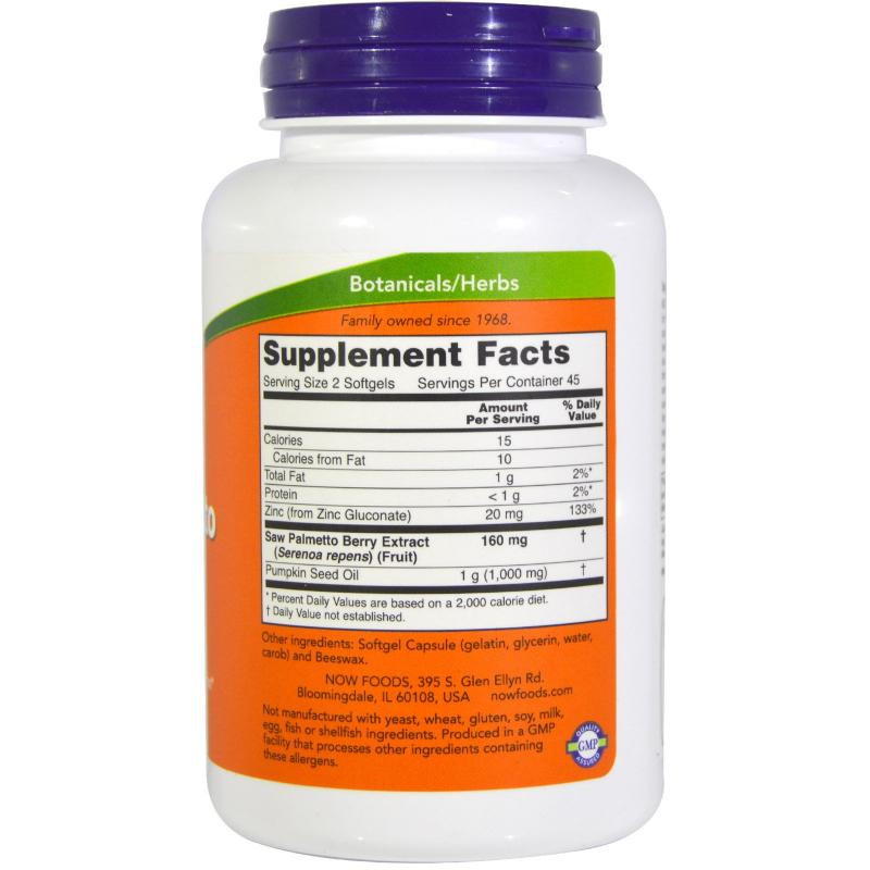 Now Foods Saw Palmetto Extract 90 softgels - фото 1