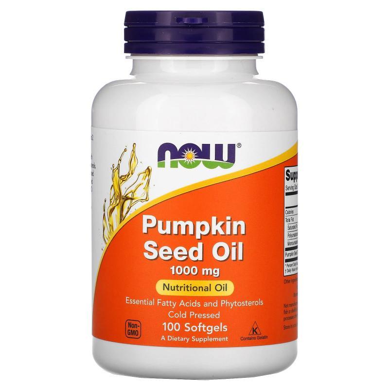 Now Foods Pumkin Seed Oil 1000 mg 100 softgels - фото 1