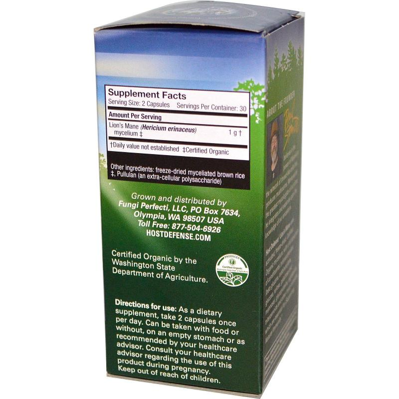 Fungi Perfecti Lion's Mane memory and nerve support 60 vcaps - фото 1