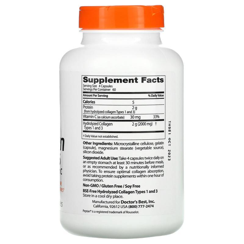 Doctor's Best Best Collagen Type 1 & 3 500 mg 240 vcaps - фото 1