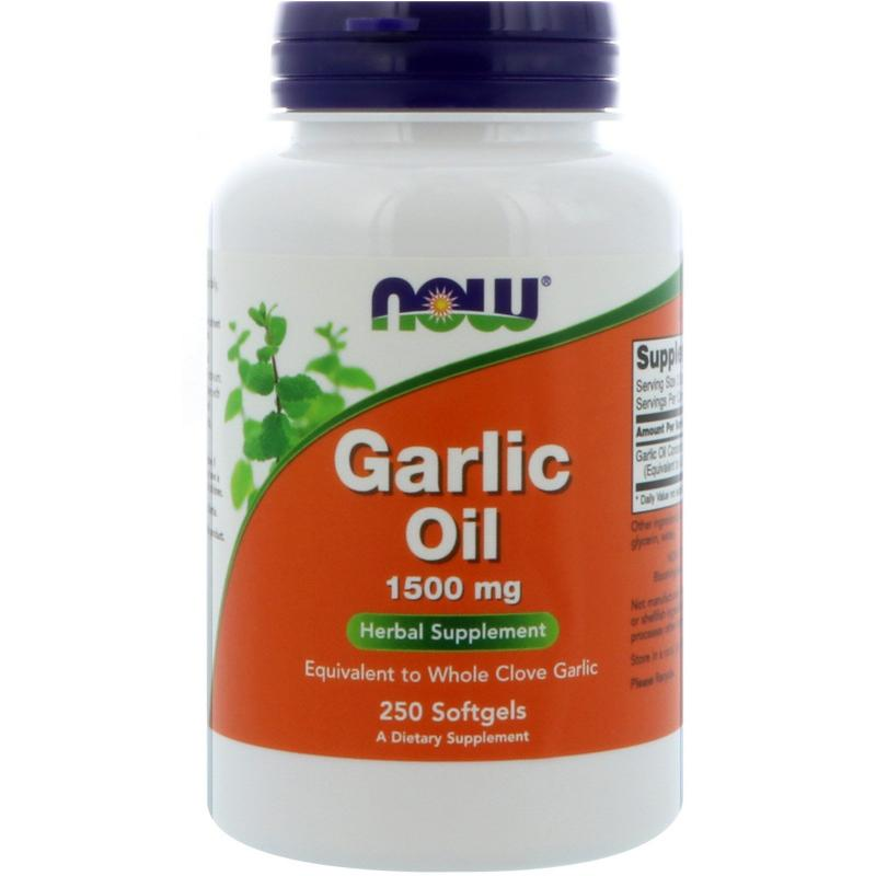 Now Foods Garlic Oil 1500 mg 250 Softgels - фото 1