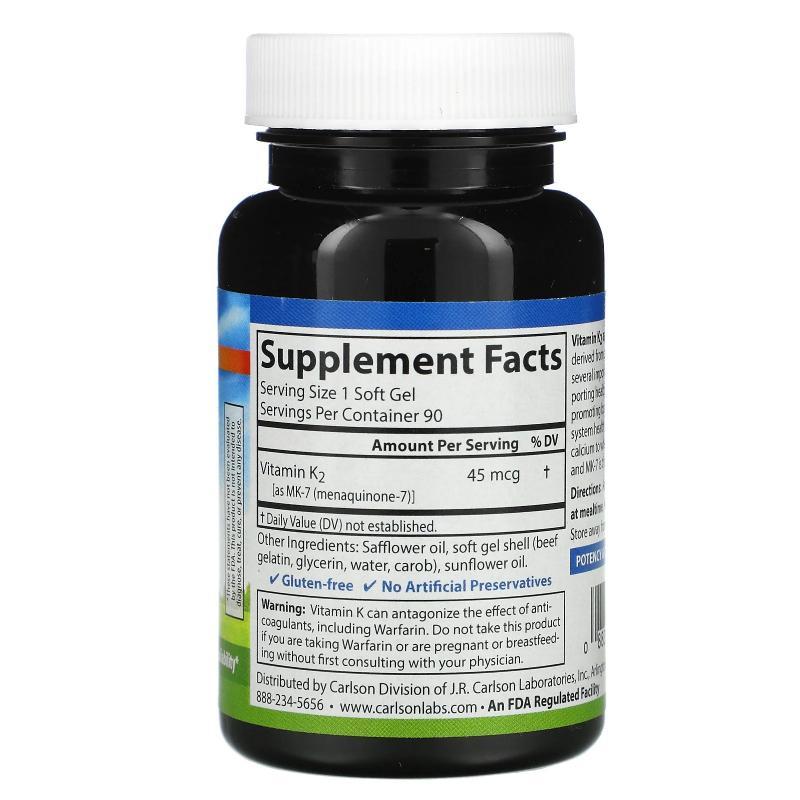 Carlson Labs Vitamin K2 MK-7 45 mkg 90 Softgels - фото 1