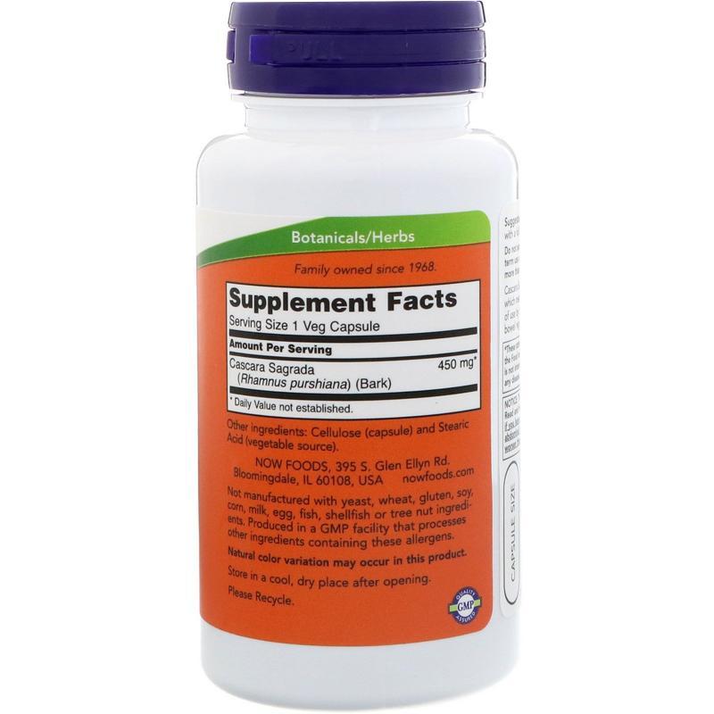 Now Foods Cascara Sagrada 450 mg 100 caps - фото 1