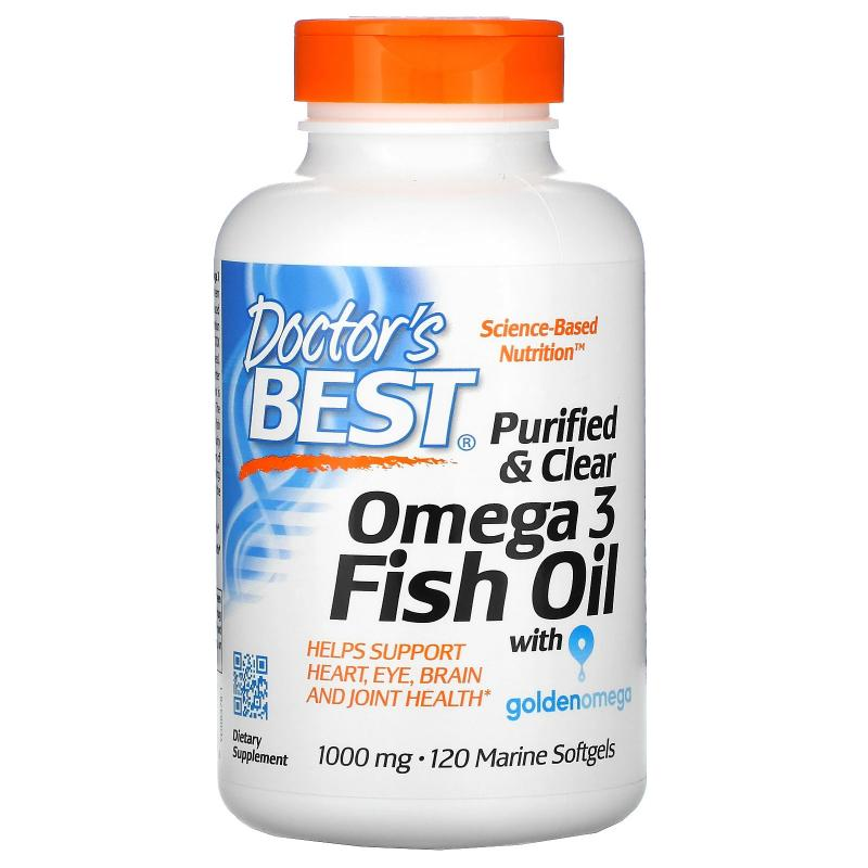 Doctor's Best Omega 3 Fish Oil with goldenomega 1000 mg 120 softgels - фото 1