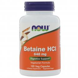 Now Foods Betaine HCL 648 mg 120 Veg Capsules